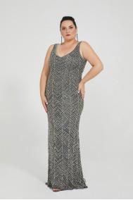 Alana - El İşlemeli , Taşel Detaylı Elbise - Plus Size