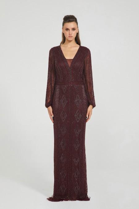 Gayle - El İşlemeli, Taşel Detaylı Elbise