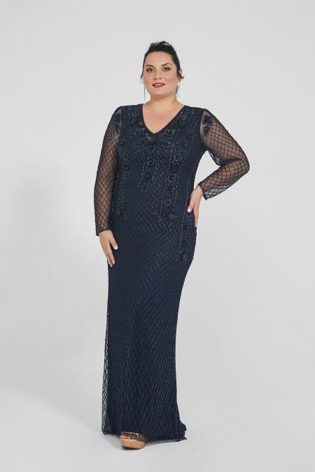 Jill - El İşlemeli, Taşel Detaylı Elbise - Plus Size