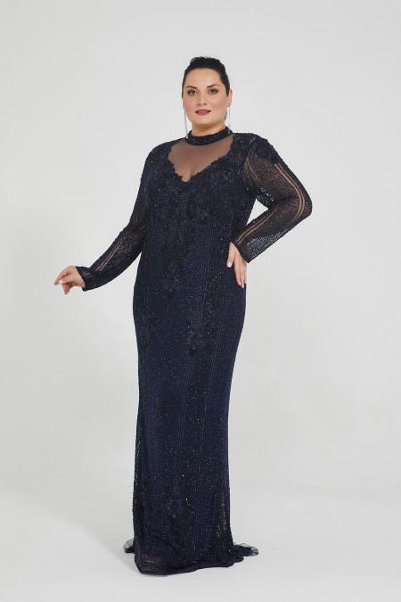 Melanie - El İşlemeli , Taşel Detaylı Elbise - Plus Size