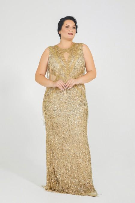Nice - El İşlemeli, Taş Püsküllü Elbise - Plus Size